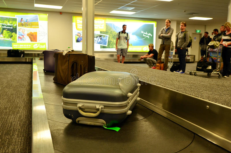 Air transport luggage. QUEENSTOWN, NZ- JAN 12:Air transport luggage in Queenstown International Airport on Jan 12 2014.In the US, an average of 1 in 150 people stock images
