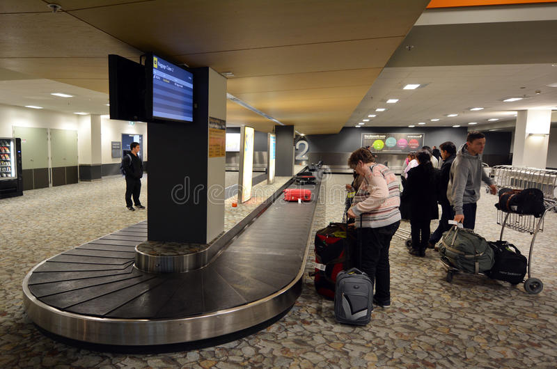 Air transport luggage in Wellington International Airport. WELLINGTON - AUG 21 2014: Air transport luggage in Wellington International Airport.In the US, an stock image