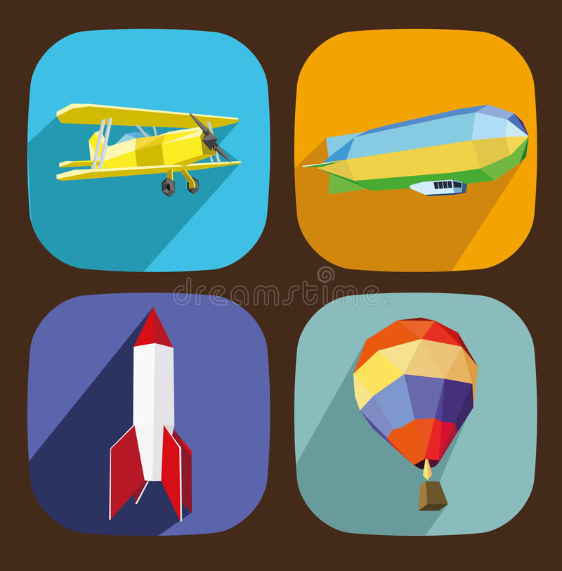 Download Air transporttation icons stock vector. Image of rocket - 32891005