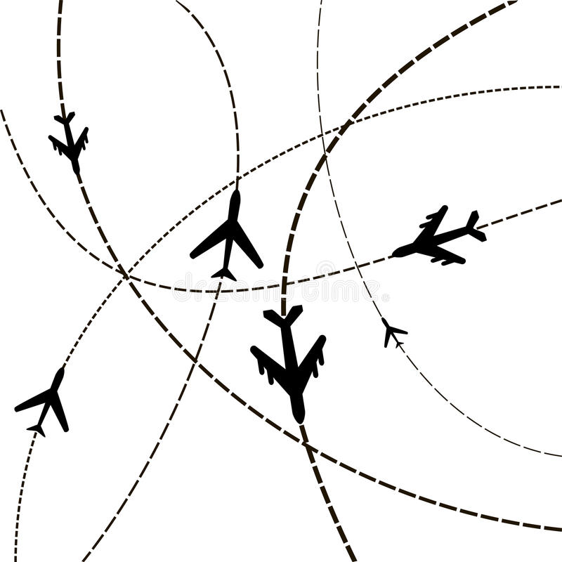 Air travel. Airplanes on their destination routes. Vector Illust. Ration stock illustration