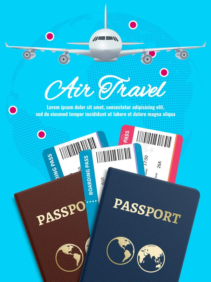 Air travel banner with earth plane passport and tickets vector illustration