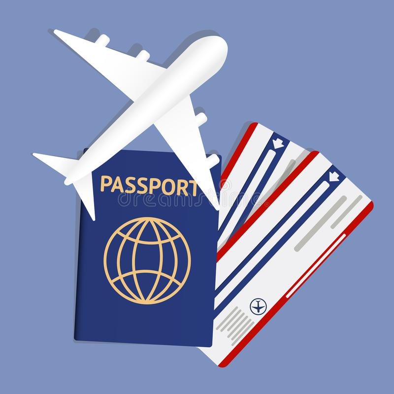 Air travel banner with passport - vacation concept design. Banner with airplane and vacation tickets. Vector stock illustration