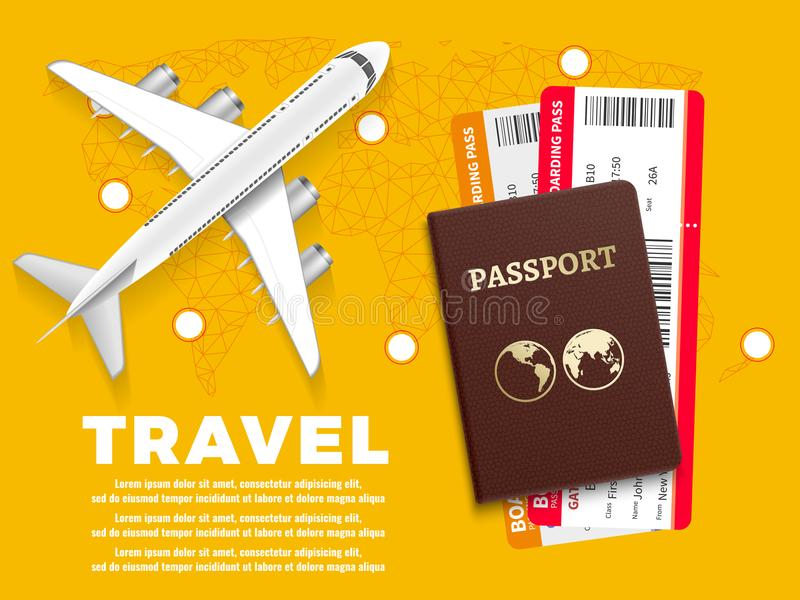 Air travel banner with plane world map and passport - vacation concept design stock illustration