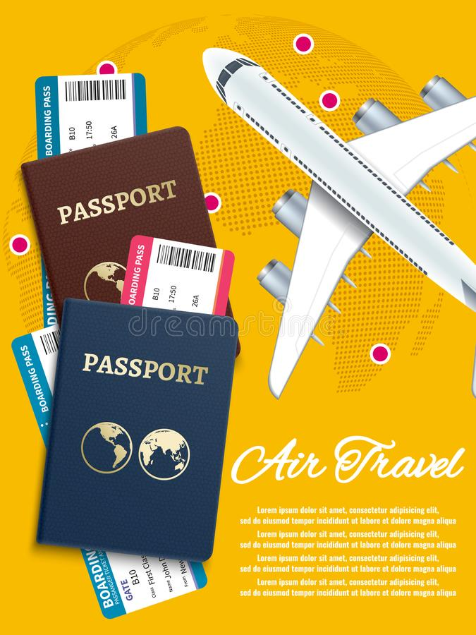 Air travel banner with world globe airline tickets - international vacation concept royalty free illustration