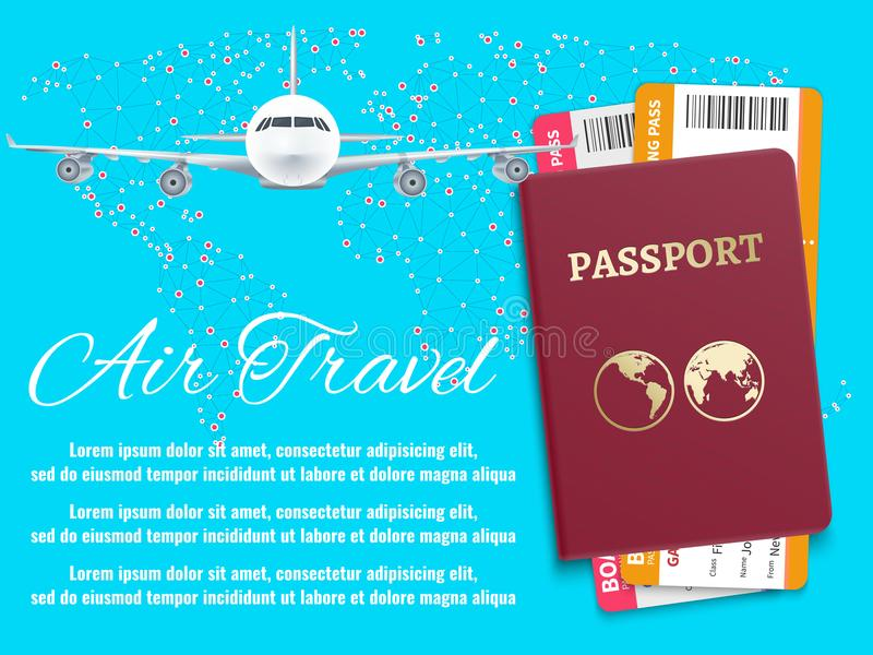 Air travel banner with world map airplane passport stock illustration