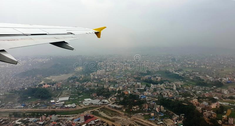 Air Travel from Nepal to Bhutan royalty free stock photos