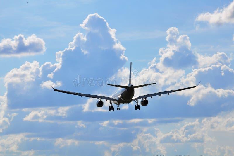 Air travel. Landing of passenger aircraft stock photography