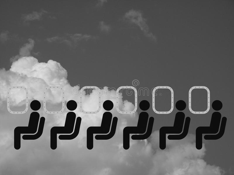 Air travel. Monochrome representation of air travel against a cloudy sky stock illustration