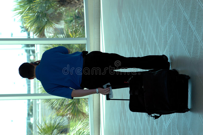 Air Traveler. A business man with suitcase on the phone in an airport royalty free stock photos