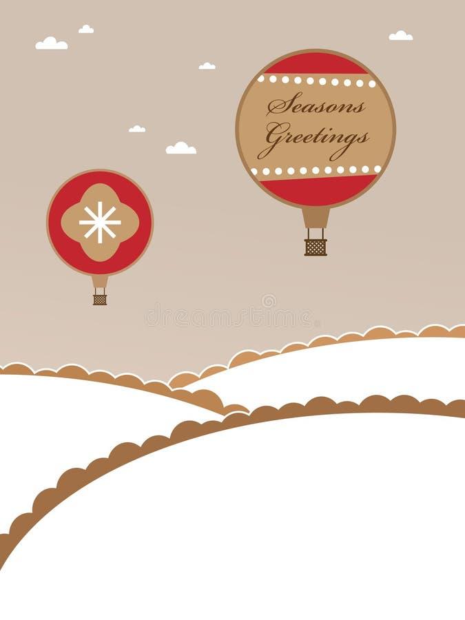 air varm ballongjul stock illustrationer