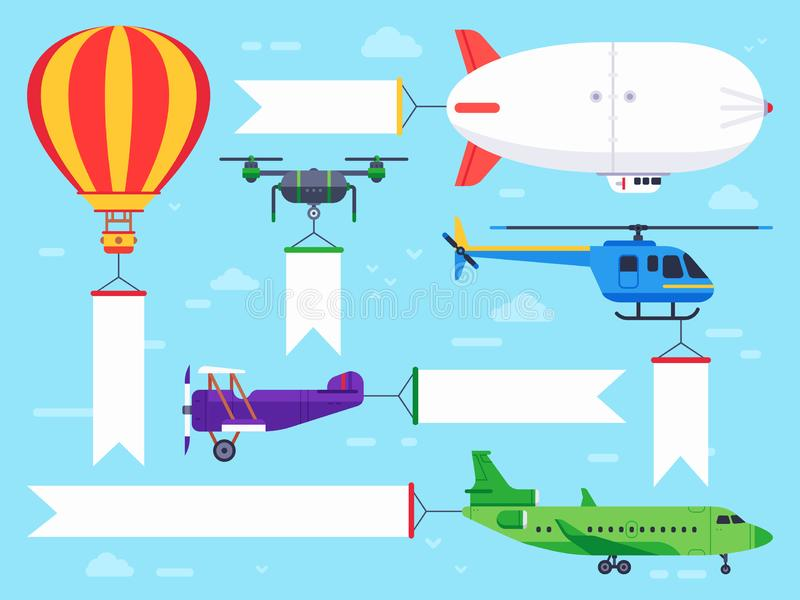 Air vehicles banner. Flying helicopter sign, airplane banner message and vintage zeppelin ad flat vector illustration royalty free illustration