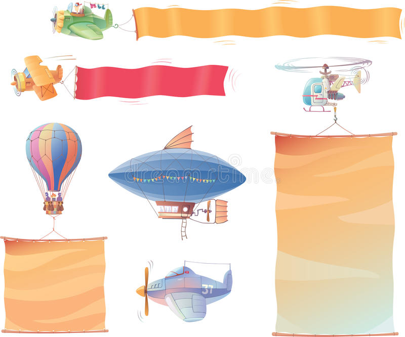 Download Air vehicles with banners stock vector. Image of balloon - 24171545