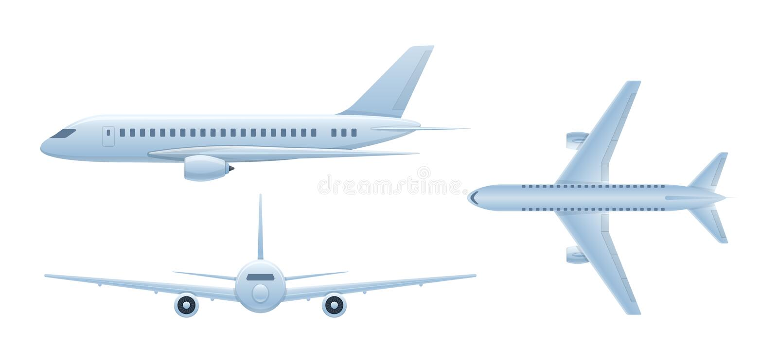 Air vehicles. Flying airplane, airliner. Passenger plane in different angles. stock illustration