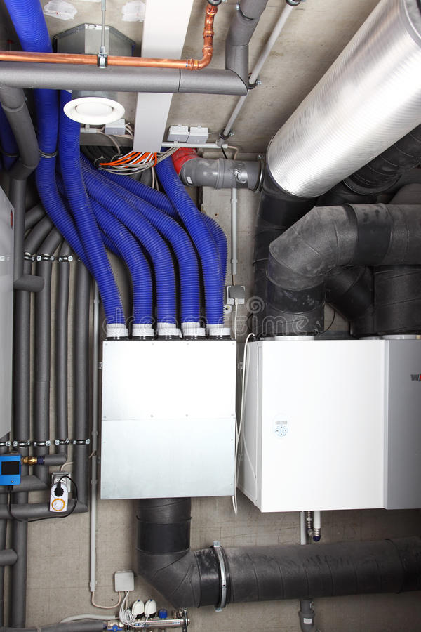 Air ventilation and heating system. Air ventilation system and heating in passive house for energy efficiency stock photography