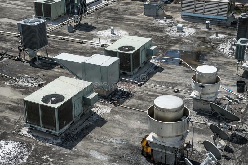 Air ventilation system installed on the roof of the building royalty free stock photography