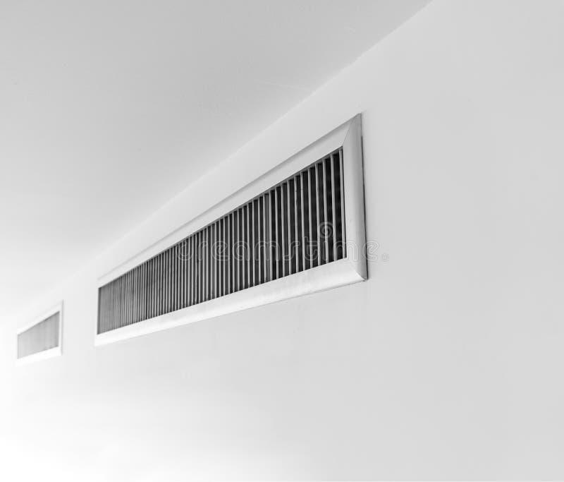 Air ventilator ,metal slat frame on white. Wall royalty free stock image