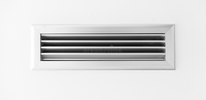 Air ventilator ,metal slat frame on white. Ceiling royalty free stock photos