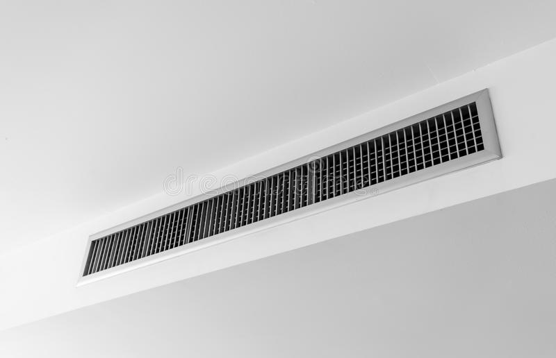 Air ventilator ,metal slat frame on white. Ceiling royalty free stock photo