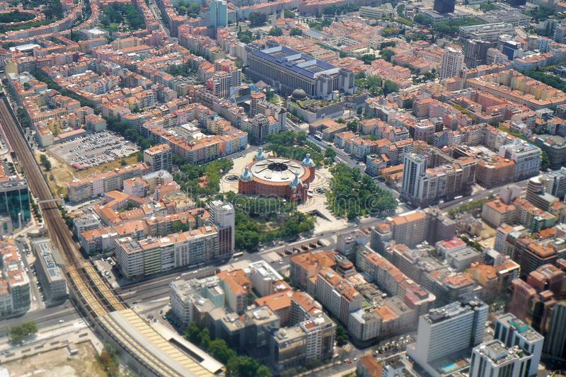The air view of central Lisbon with round building of Centro comercial do Campo Pequeno. Portugal stock photo