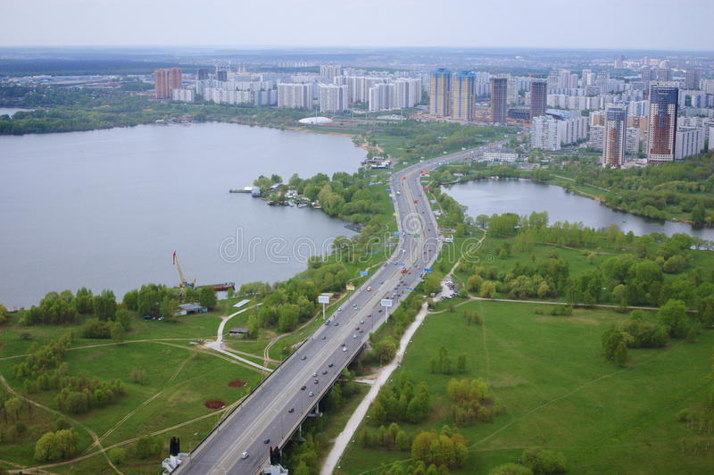 The air view of city and river stock photo