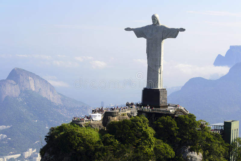 Air view cristo redentor - Rio De Janeiro - Brazil royalty free stock photo