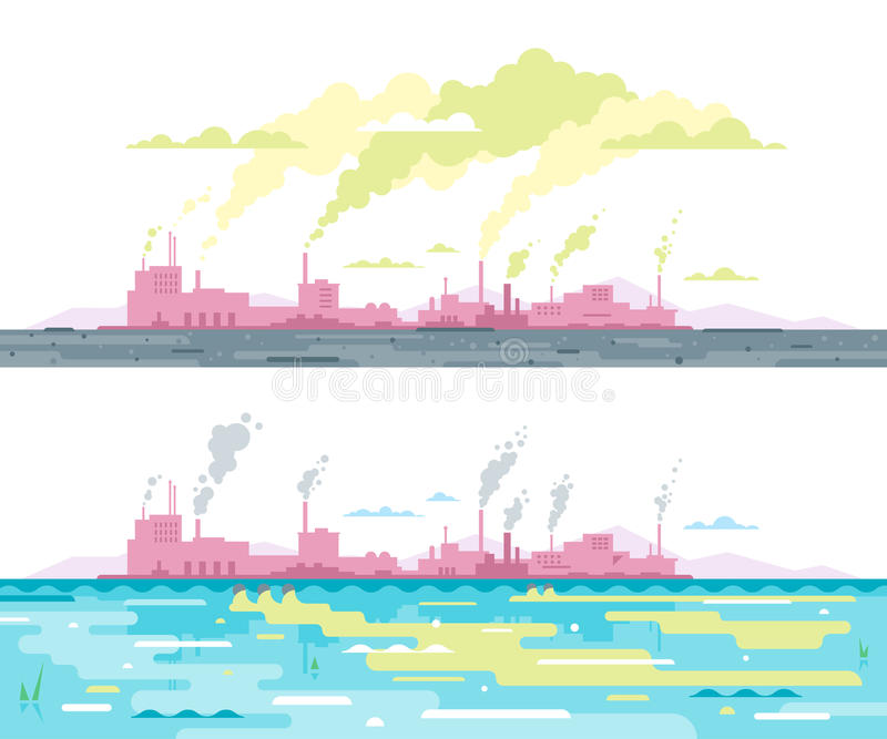 Air and Water Pollution from Plant vector illustration