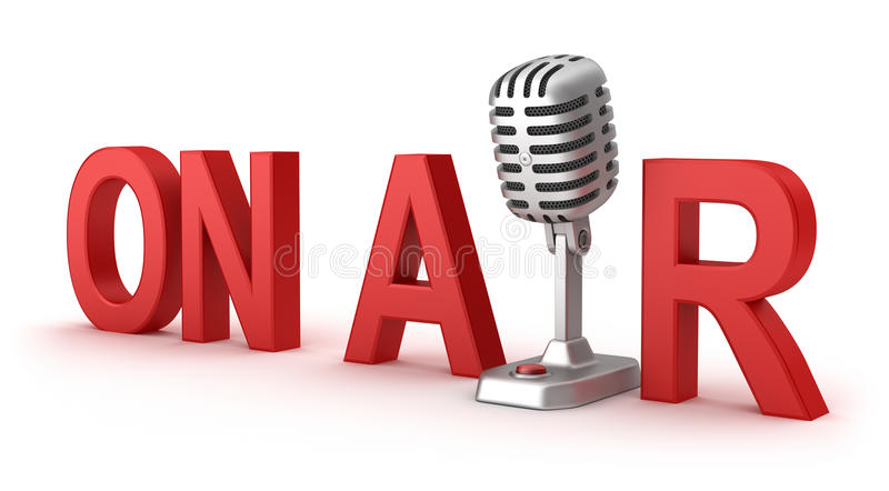 On Air word and microphone. Concept royalty free illustration