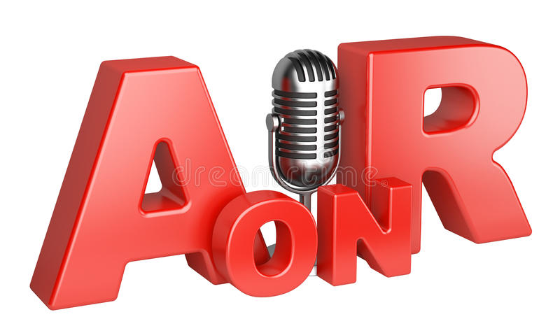 On Air word and microphone concept. 3d illustration isolated on a white background stock illustration