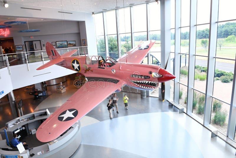 Air Zoo, Kalamazoo, Michigan. Kalamazoo, MI, USA – June 23, 2016: P-40 on display at the Air Zoo Museum in Kalamazoo, Michigan stock images