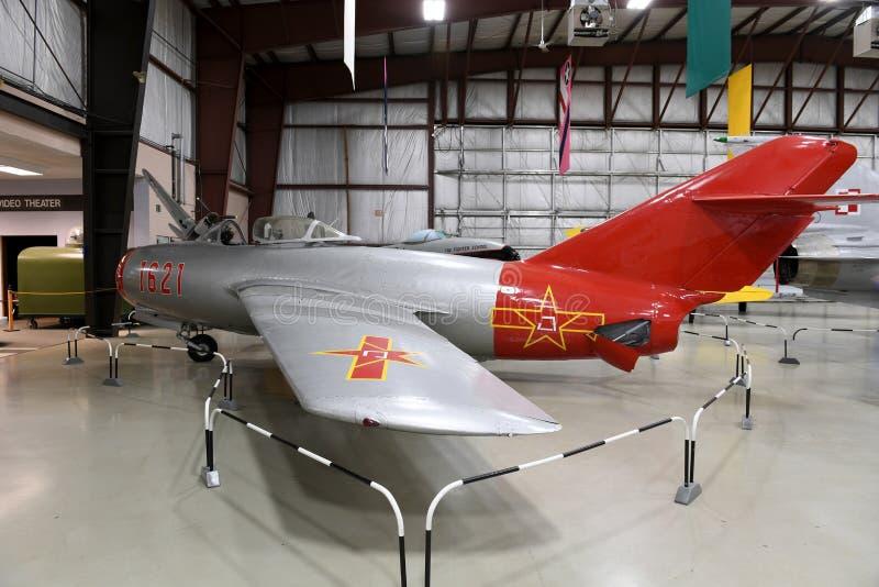 Air Zoo, Kalamazoo, Michigan. Kalamazoo, MI, USA – June 23, 2016: Russian MiG-17 on display at the Air Zoo Museum in Kalamazoo, Michigan royalty free stock photos