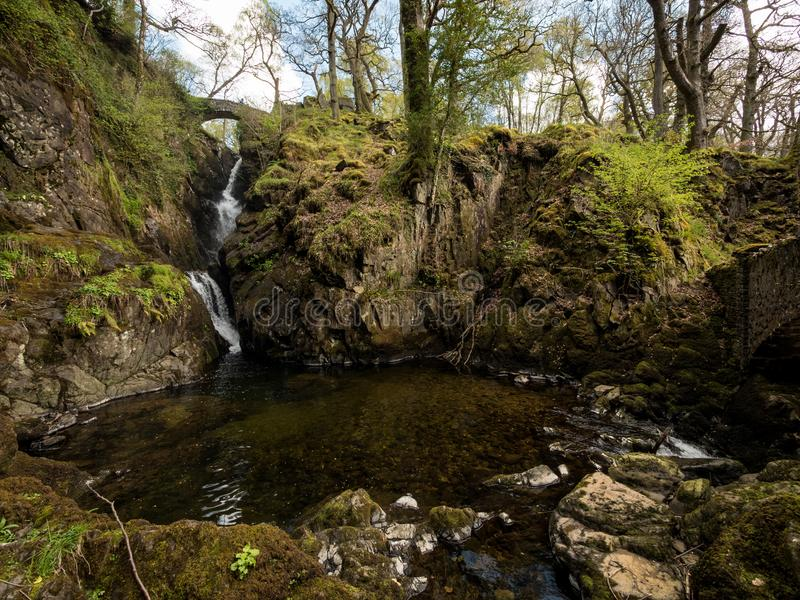 Aira Force waterfall, English Lake District stock images