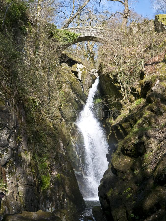 Aira Force waterfall in the Lake District, Cumbria in North West England, UK stock images