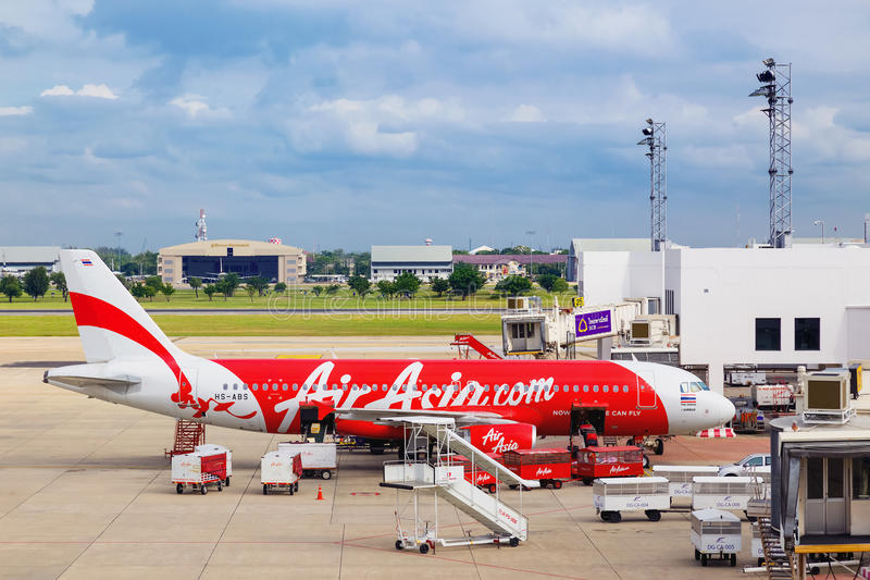 AirAsia in Bangkok, Thailand. BANGKOK, THAILAND - OCTOBER 19: AirAsia in Bangkok, Thailand on October 19, 2014. Malaysian low-cost airline that operates domestic stock photography