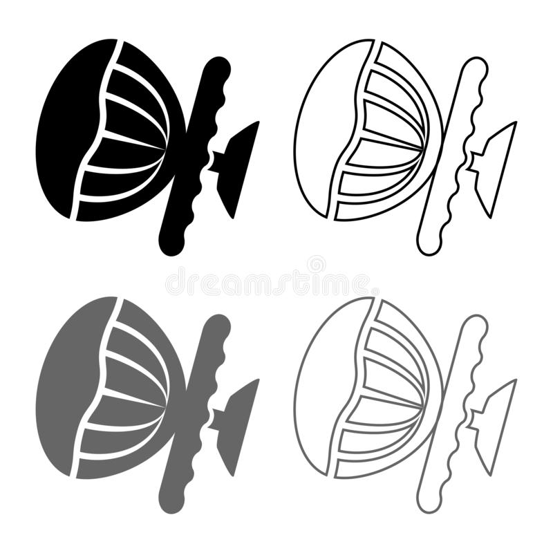 Airbag sign Steering wheel with active airbag icon set grey black color illustration outline flat style simple image. Airbag sign Steering wheel with active vector illustration