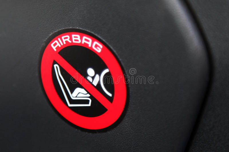 Airbag sticker. In a car stock photos
