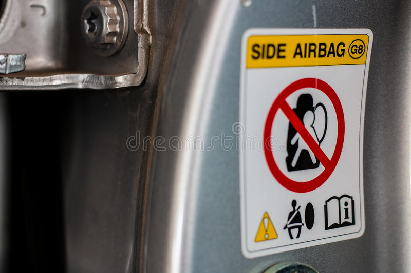Airbag warning sign stock photos