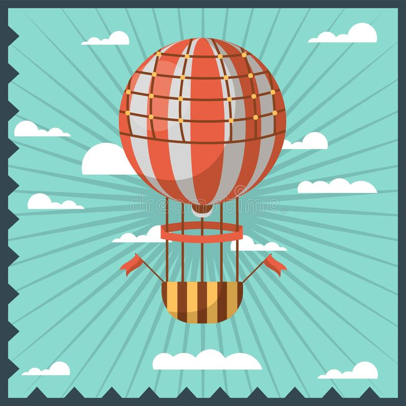 Airballon odizolowywał w niebie z białych chmur kolorowym kartka z pozdrowieniami z zmrokiem - błękitna falista rama royalty ilustracja