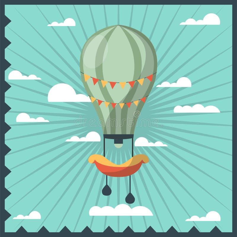Airballon odizolowywał w niebie z białych chmur kolorowym kartka z pozdrowieniami z zmrokiem - błękitna falista rama ilustracji