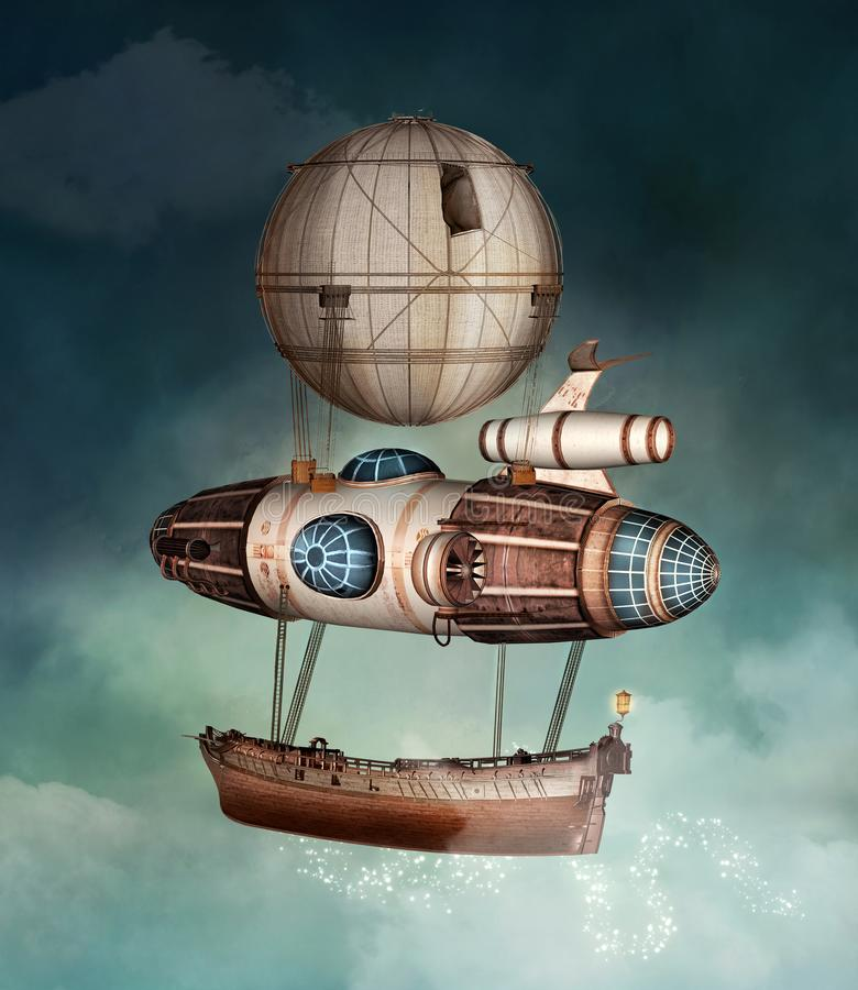 Airballoon di fantasia di Steampunk in un cielo tempestoso royalty illustrazione gratis