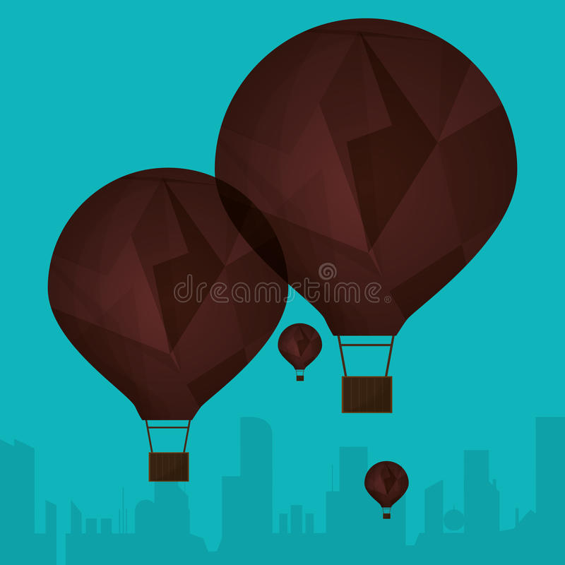 Airballoons marroni della raccolta che fyling il fondo della città della siluetta illustrazione di stock