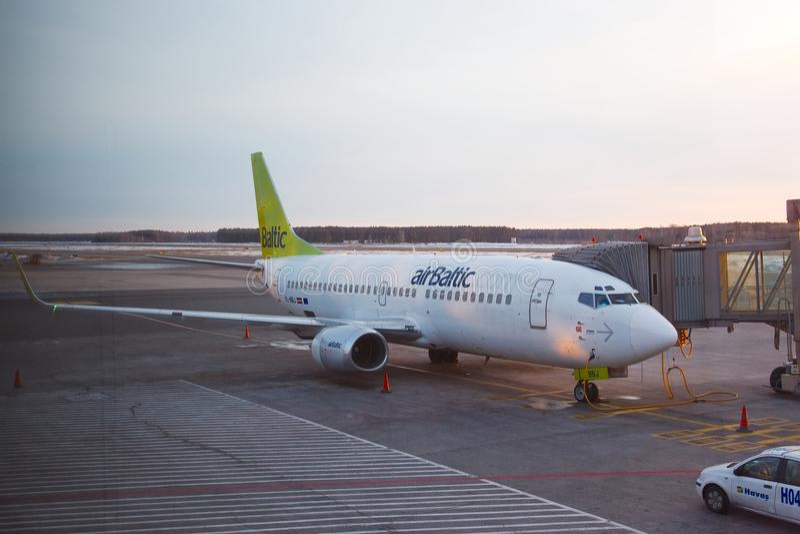 Airbaltic班机 免版税库存照片