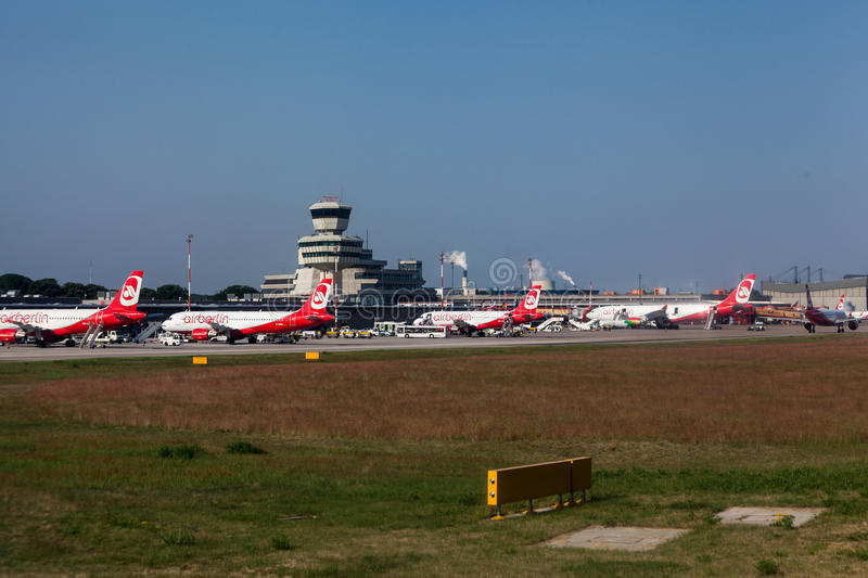 Airberlin Aircrafts in Berlin Germany. A group of airberlin airplanes parked in Tegel airport, Berlin, Germany royalty free stock images