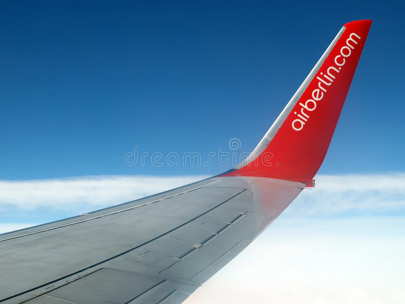 Airberlin airplane in flight royalty free stock images