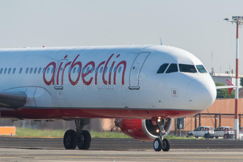 AirBerlin Boeing 737 on the runway royalty free stock photo