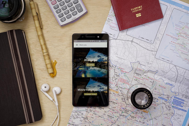 Airbnb applikation arkivbild