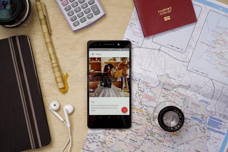 Airbnb applikation royaltyfri foto