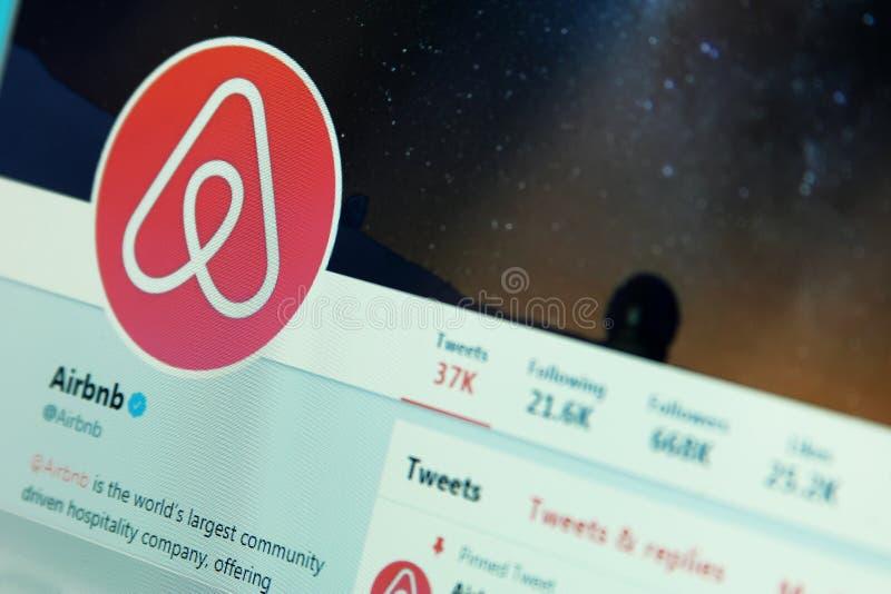 Airbnb auf Twitter lizenzfreie stockbilder
