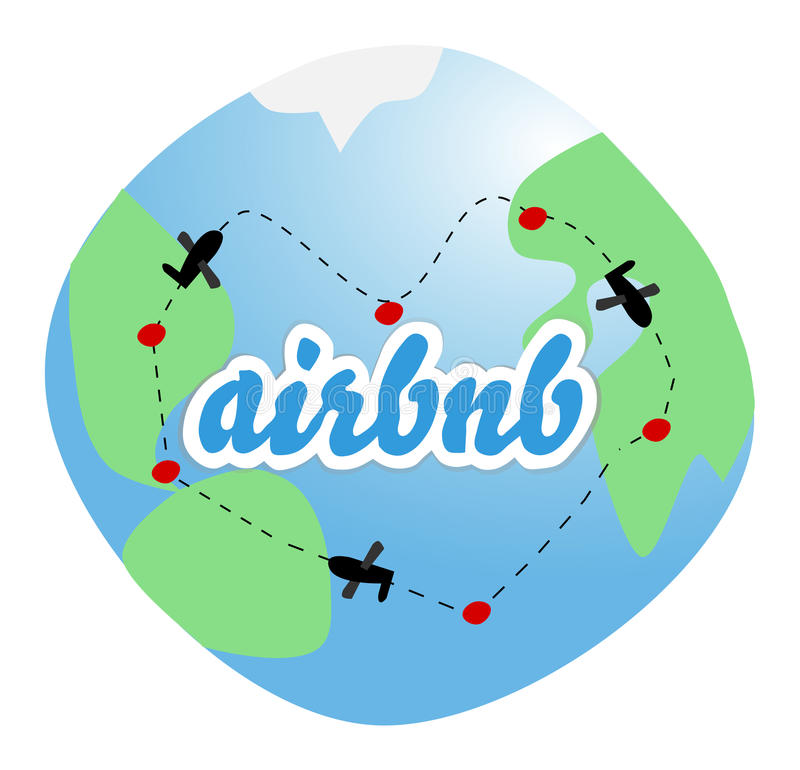 Airbnb - love to travel royalty free illustration