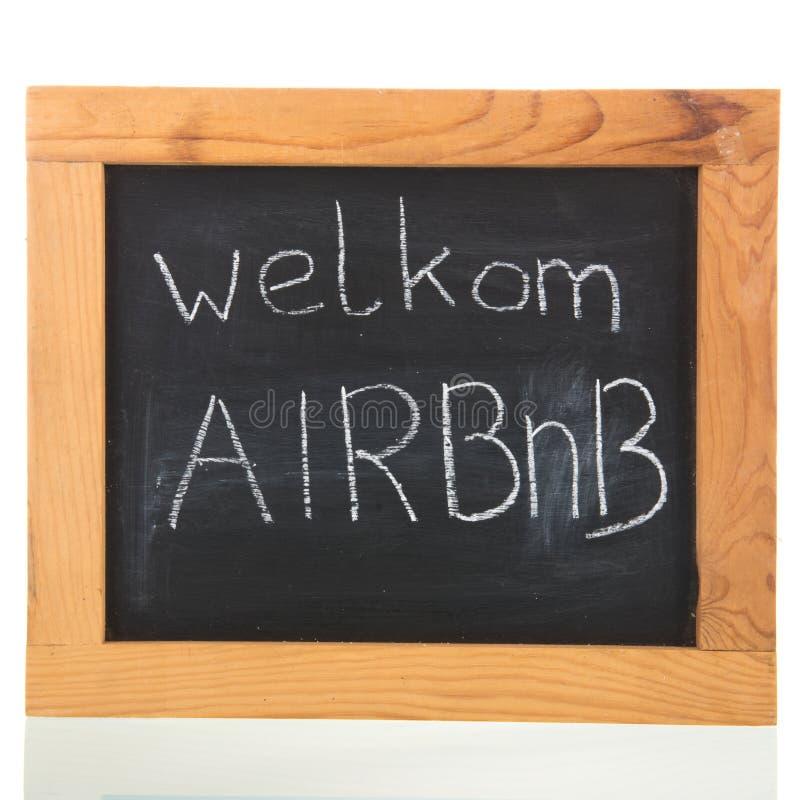Airbnb olandese sulla lavagna fotografia stock libera da diritti