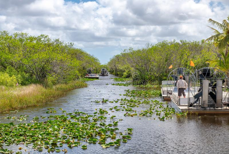 Airboats tours in Everglades National Park, Florida stock photo